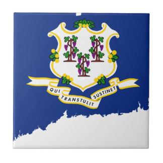 Flag Map Of Connecticut Tile