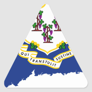 Flag Map Of Connecticut Triangle Sticker
