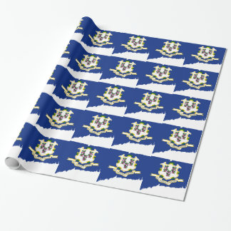 Flag Map Of Connecticut Wrapping Paper