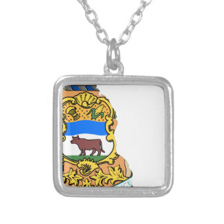 Flag Map Of Delaware Silver Plated Necklace