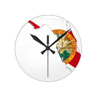 Flag Map Of Florida Round Clock