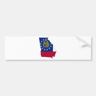 Flag Map Of Georgia Bumper Sticker