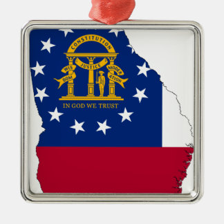 Flag Map Of Georgia Metal Ornament