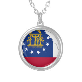 Flag Map Of Georgia Silver Plated Necklace