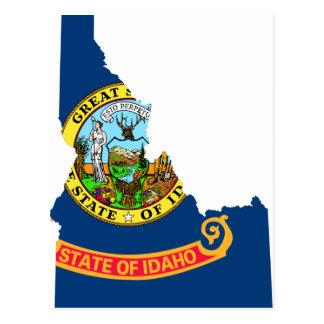Flag Map Of Idaho Postcard