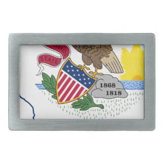 Flag Map Of Illinois Belt Buckle