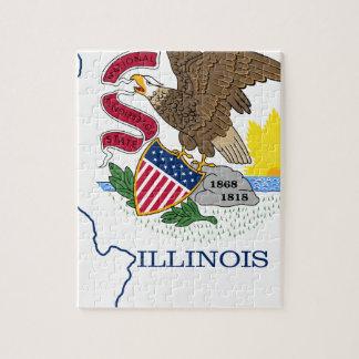 Flag Map Of Illinois Jigsaw Puzzle