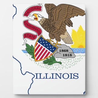 Flag Map Of Illinois Plaque