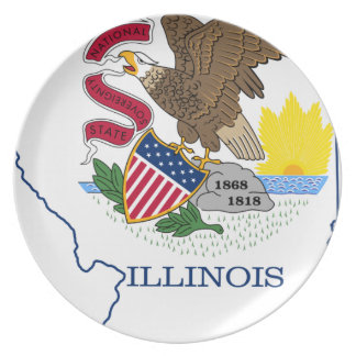 Flag Map Of Illinois Plate