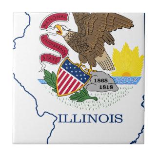 Flag Map Of Illinois Tile