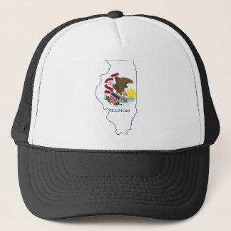 Flag Map Of Illinois Trucker Hat