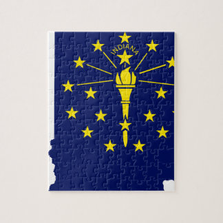 Flag Map Of Indiana Jigsaw Puzzle