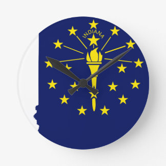 Flag Map Of Indiana Round Clock