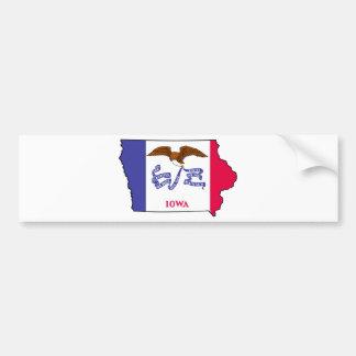 Flag Map Of Iowa Bumper Sticker