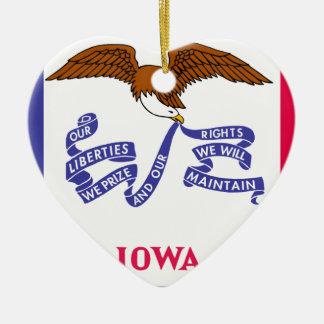 Flag Map Of Iowa Ceramic Ornament