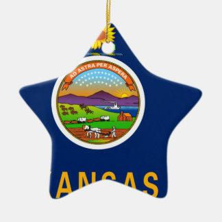 Flag Map Of Kansas Ceramic Ornament