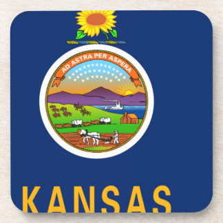 Flag Map Of Kansas Coaster