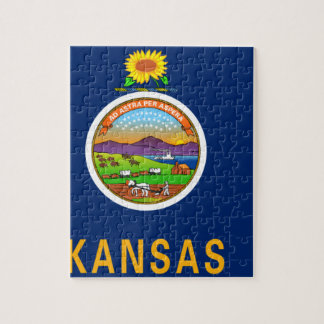 Flag Map Of Kansas Jigsaw Puzzle