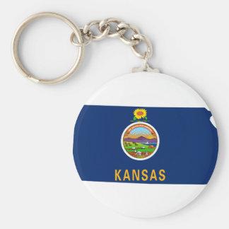 Flag Map Of Kansas Keychain