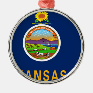 Flag Map Of Kansas Metal Ornament