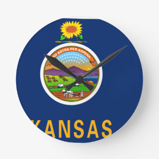 Flag Map Of Kansas Round Clock