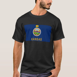 Flag Map Of Kansas T-Shirt