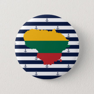 Flag/map of Lithuania on striped background 2 Inch Round Button