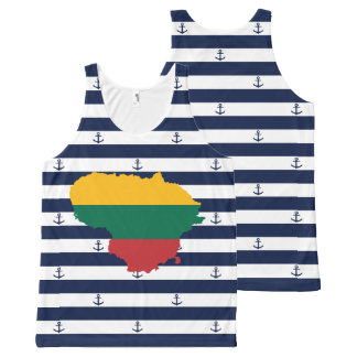 Flag/map of Lithuania on striped background All-Over-Print Tank Top