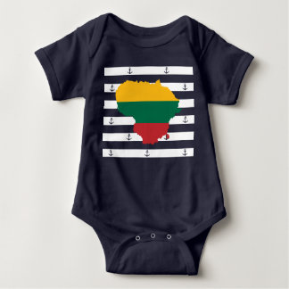 Flag/map of Lithuania on striped background Baby Bodysuit