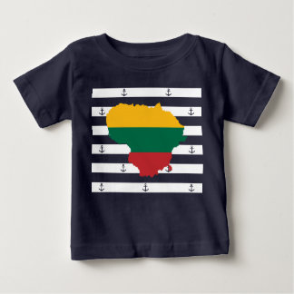 Flag/map of Lithuania on striped background Baby T-Shirt