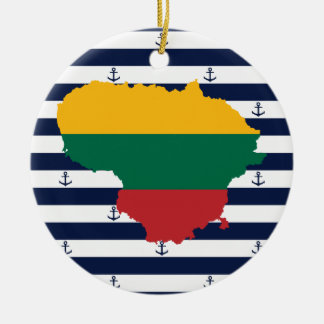 Flag/map of Lithuania on striped background Ceramic Ornament