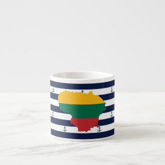 Flag/map of Lithuania on striped background Espresso Cup