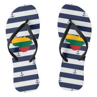 Flag/map of Lithuania on striped background Flip Flops