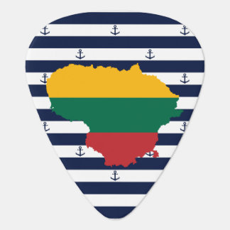 Flag/map of Lithuania on striped background Guitar Pick