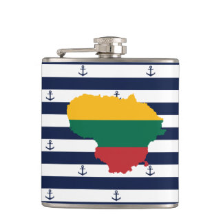 Flag/map of Lithuania on striped background Hip Flask