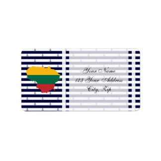 Flag/map of Lithuania on striped background Label