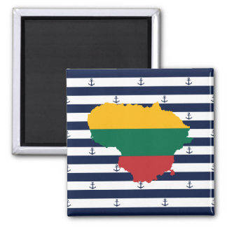 Flag/map of Lithuania on striped background Magnet