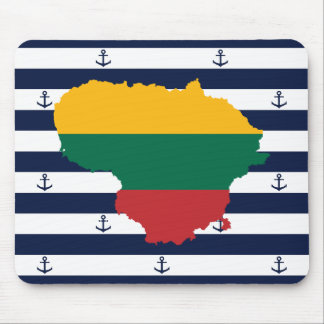 Flag/map of Lithuania on striped background Mouse Pad