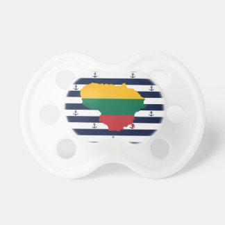 Flag/map of Lithuania on striped background Pacifier