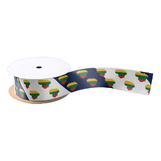 Flag/map of Lithuania on striped background Satin Ribbon