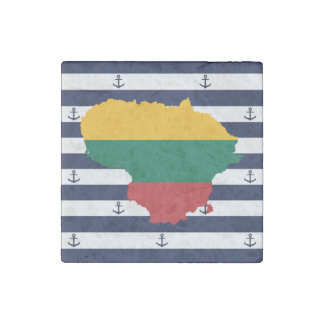 Flag/map of Lithuania on striped background Stone Magnets