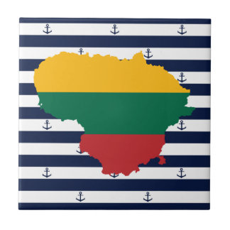 Flag/map of Lithuania on striped background Tile