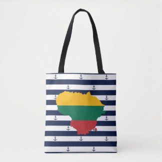 Flag/map of Lithuania on striped background Tote Bag