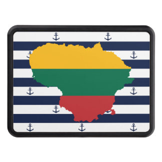 Flag/map of Lithuania on striped background Trailer Hitch Cover