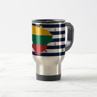 Flag/map of Lithuania on striped background Travel Mug