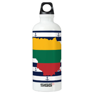 Flag/map of Lithuania on striped background Water Bottle