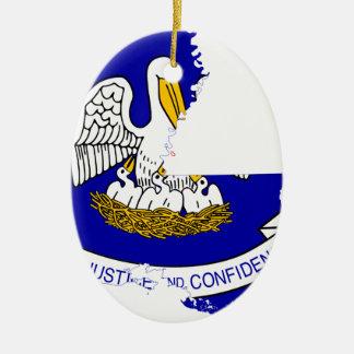 Flag Map Of Louisiana Ceramic Ornament