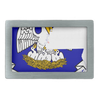 Flag Map Of Louisiana Rectangular Belt Buckle