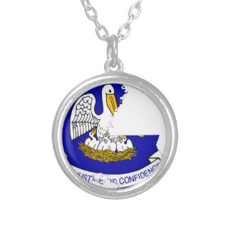 Flag Map Of Louisiana Silver Plated Necklace