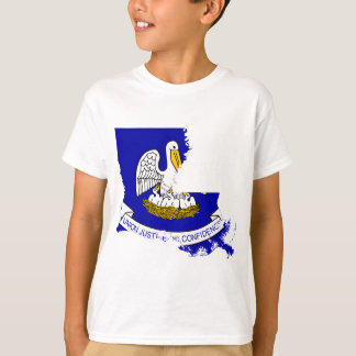 Flag Map Of Louisiana T-Shirt